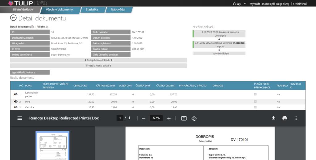 tulip platforma - screen detailu vytezene faktury