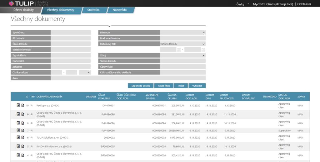 tulip platforma - screen prehledu faktur v accounting modulu