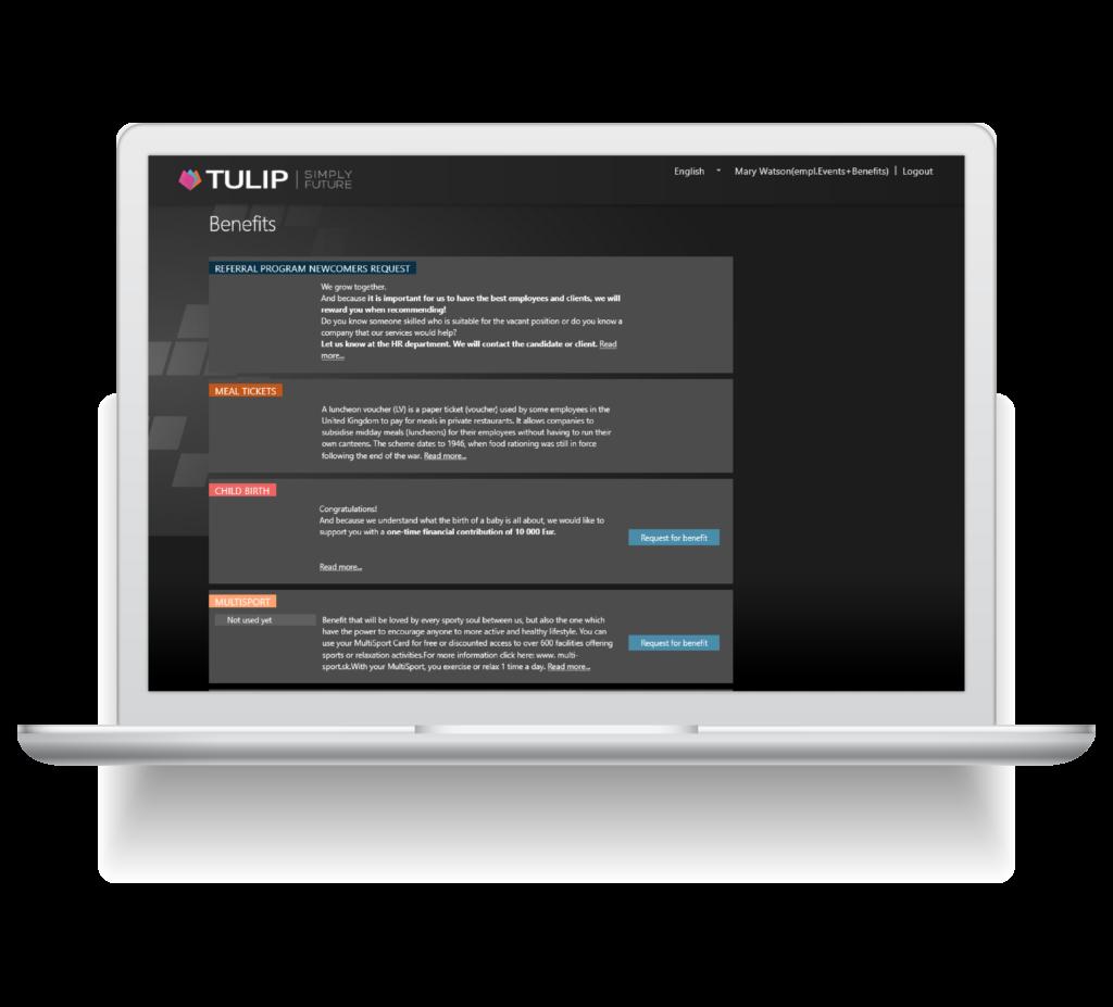 sprava firemnich benefitu v cloudu - tulip online platforma