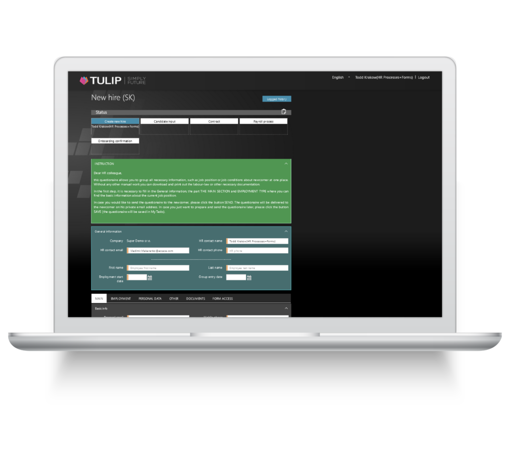 nastup zamestnance - reseni v online platforme - tulip